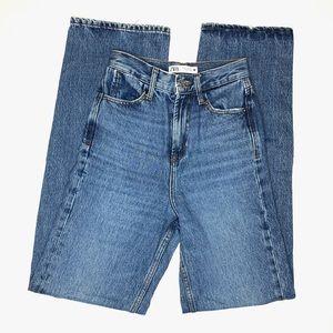 Zara Z1975 High Waisted Full Length Wide Leg Jeans Mid Wash Blue 0 Slouchy Denim